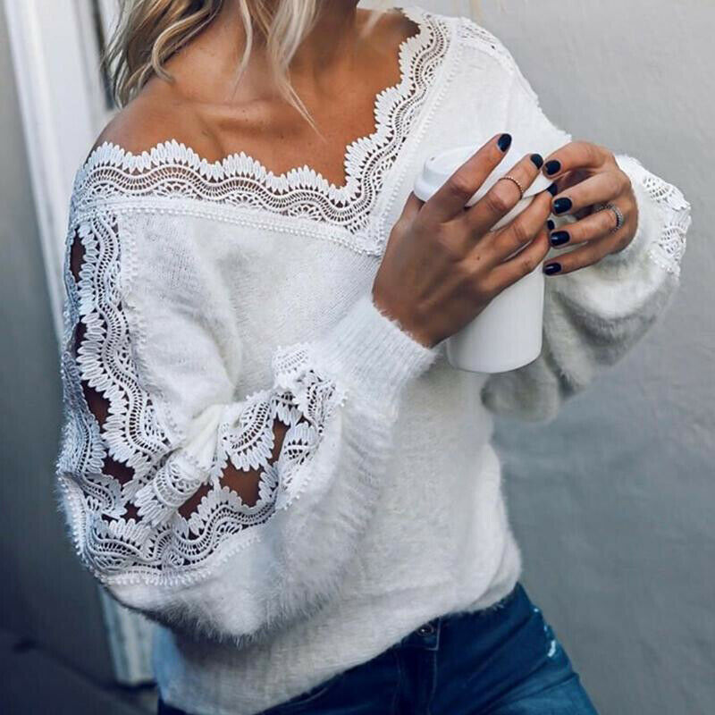 Winter Women's knitted  Sweaters Pullover V neck Hollow Jumper Loose White Fashion Female Sweater Blouse Sexy Women Clothing