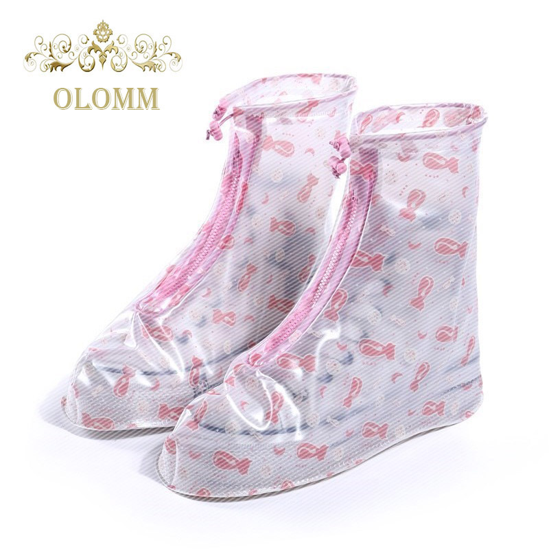 OLOMM 1 Pair Waterproof Shoes Cover Reusable Overshoes Shoes Protector Boot Unisex Anti Slip Rain Shoes Covers Cases Accessories in Shoes Covers from Shoes