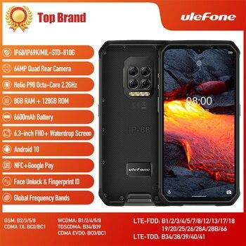 Купить Защищенный телефон Ulefone Armor 9E, Android 10, Восьмиядерный процессор Helio P90, 8 ГБ + 128 ГБ, 2,4G + 6600, Wi-Fi, мобильный телефон с камерой 64 мп, мАч, NFC