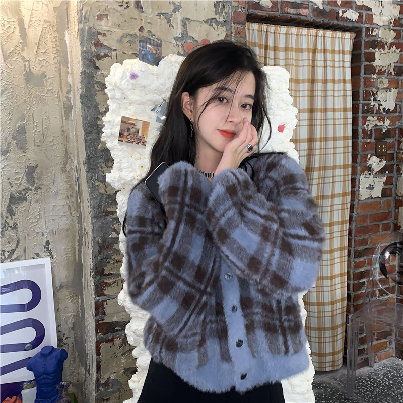Vintage argyle knitted cardigans women sweaters kawaii mohair sweater winter korean sweater clothes 2020 new 10