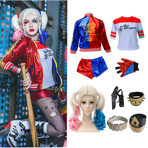 Samobójstwo squad cosplay kostium na Halloween dorosły dzieciak Harley Quinn monster T-shirt kurtka spodenki opaska akcesoria peruka