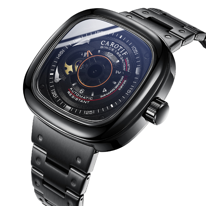 Casual, Watches, Carotif, Leather, Hand, Mechanical