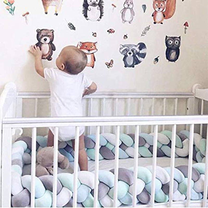 Baby Braided Bed Crib Bumper Breathable Knotted Braided Plush Nursery 4 Strands Cradle Bumper Newborn Crib Soft Pillow Sleeping