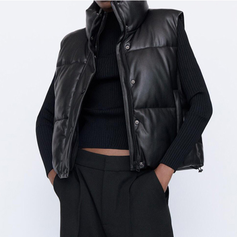 Черная парка, жилет, женский жилет, зимняя куртка, жилет без рукавов, воротник-стойка, регулируемый подол, куртка из искусственной кожи, жиле...