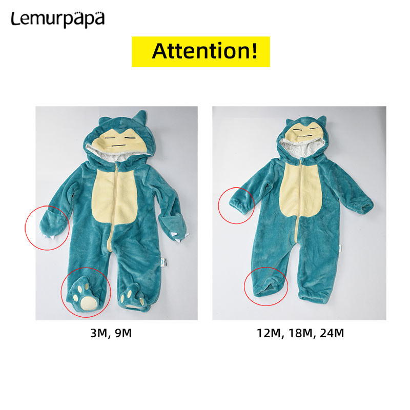 Image 5 - Snorlax Onesie Baby Romper Infant Cute Clothes 0 2 Y New Born Boy Girl Klgurumis Cartoon Funny Costume Pajama Soft Warm OutfitRompers   -
