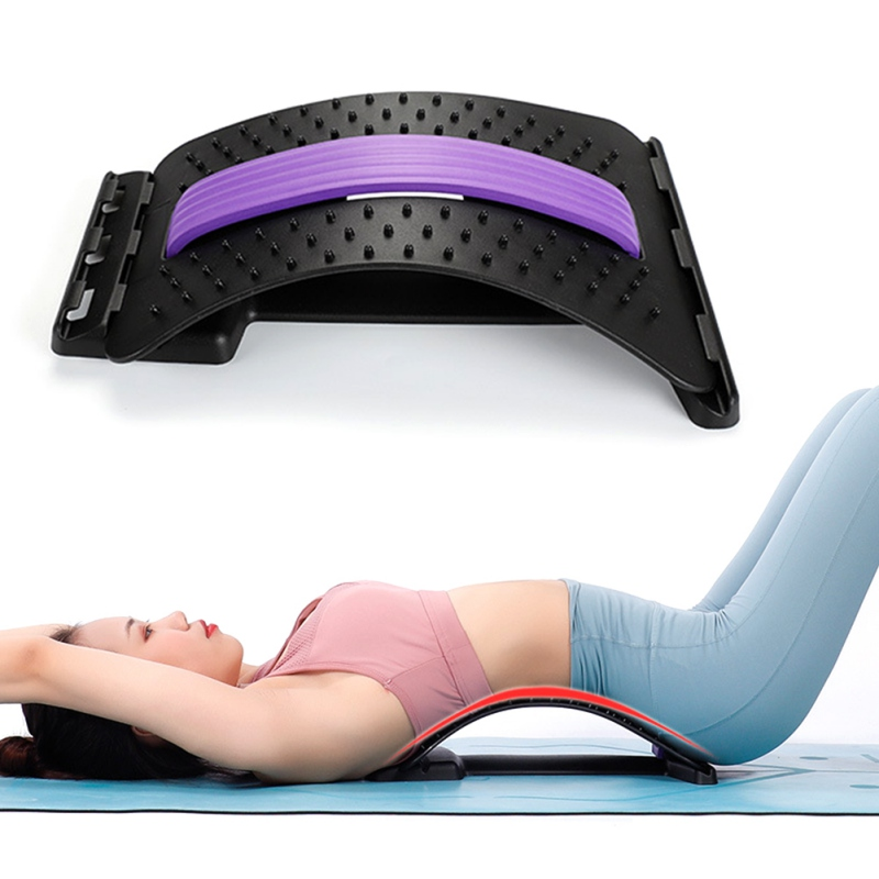 Back Massager Stretcher Fitness Lumbar Support Waist Spine Pain Relief Adjustable Back Support Lower Lumbar Posture Corrector image