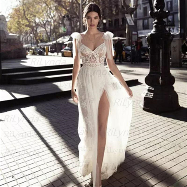 NEW High Slits Wedding Dresses Backless Bohemia Sexy Spaghetti Neckline Lace Appliqued Bridal Gowns Plus Size Wedding Dres 5