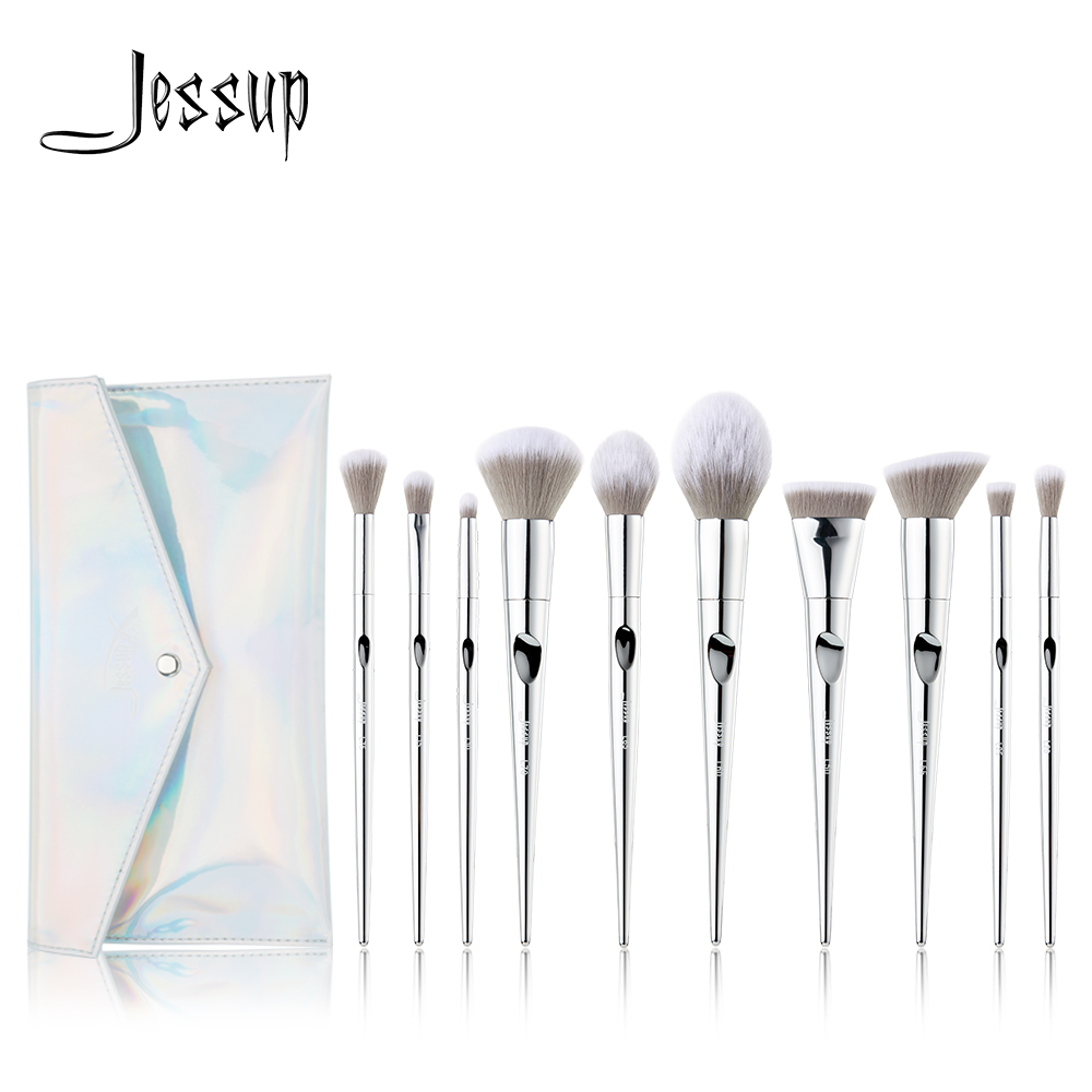 Jessup Brush 10pcs Fantasy Silver Makeup Brushes Brushes Beauty Powder Brush Cosmetic Bag Women Blush Foundation Synthetic Hair