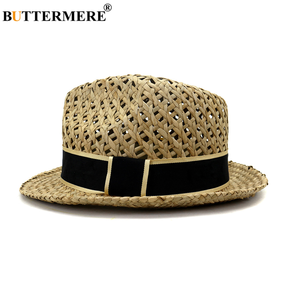 BUTTERMERE Straw Jazz Hat Men Trilby Womens Summer Hats Male Female British Style Beach Holiday Seaside Sunhat