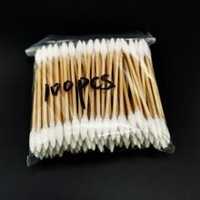 100 шт./лот, с деревянной ручкой, Коттон, тампон, домашний, необходимый, с двойной головкой, Коттон, тампон