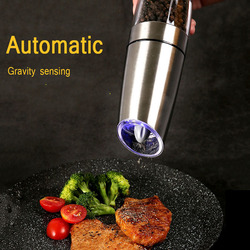 Electric Gravity Pepper Grinder Salt Mill Adjustable Coarseness Automatic Pepper Mill Grinder Battery Powered with Blue Light