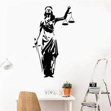 Advogado escritório decalque da parede senhora justiça themis tribunal de justiça adesivos de parede vinil tribunal decoração para casa decoração do quarto cartaz