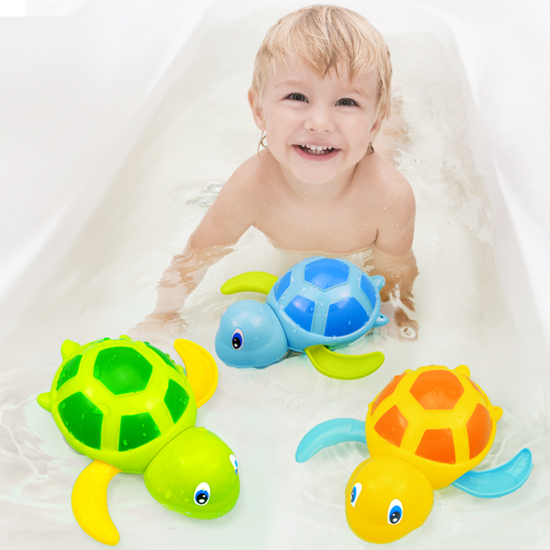 Cute Cartoon Animal Tortoise Bath Toys Classic Baby Water Play Turtle Floating  Wound-up Chain Clockwork Toy For Children Kids