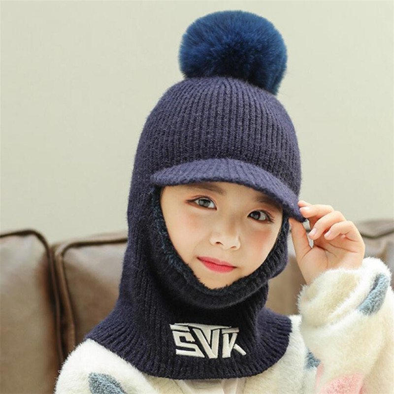 2019 Knit Short Plush Hooded Scarf Kids Hat And Scarf Child Winter Warm Protection Ear Pom Pom Letter Cap Scarves Girls 2-12T