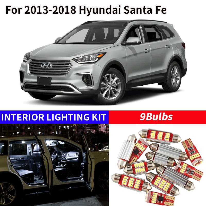 9pcs White Bulb LED Car Light Interior Kit For 2013-2018 Hyundai Santa Fe Map Dome Trunk Glove Box Lamp