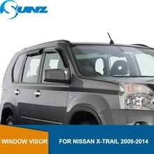 цена на Window Visor deflector Rain Guard For Nissan X-TRAIL 2009 2010 2011 2012 2013 2014 Black side window deflectors  SUNZ