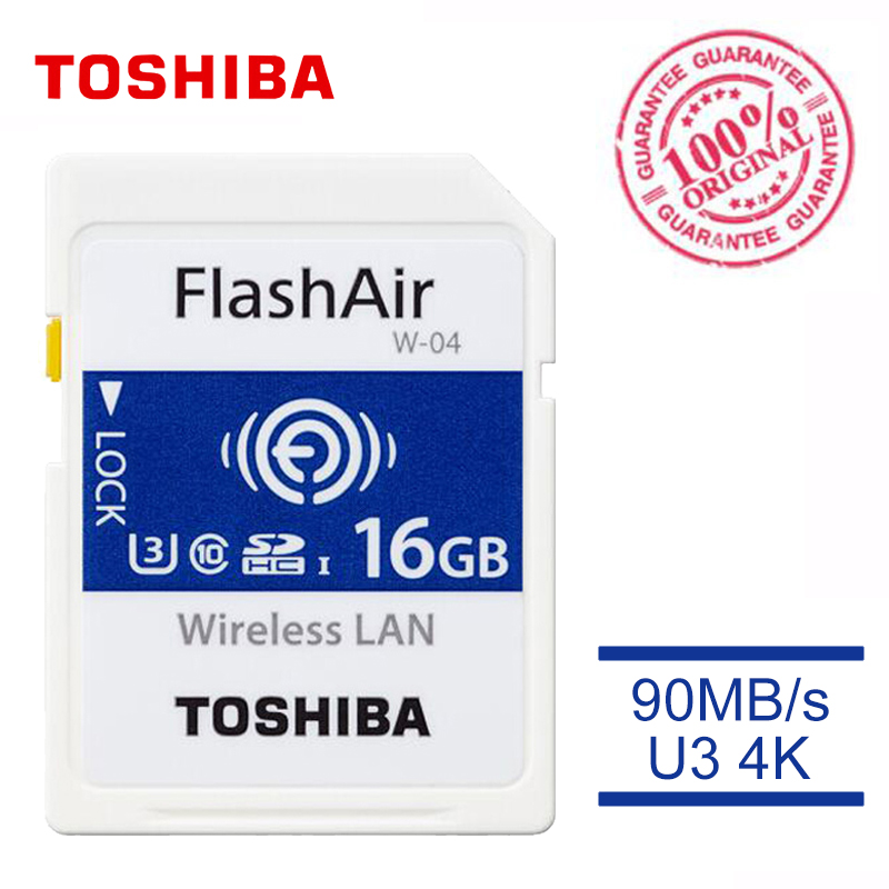 TOSHIBA W-04 Memory Card Wireless LAN 64GB 32GB 16GB WI-FI SD Card U3 UHS Speed Class 3 FlashAir Wireless SD Memory Card