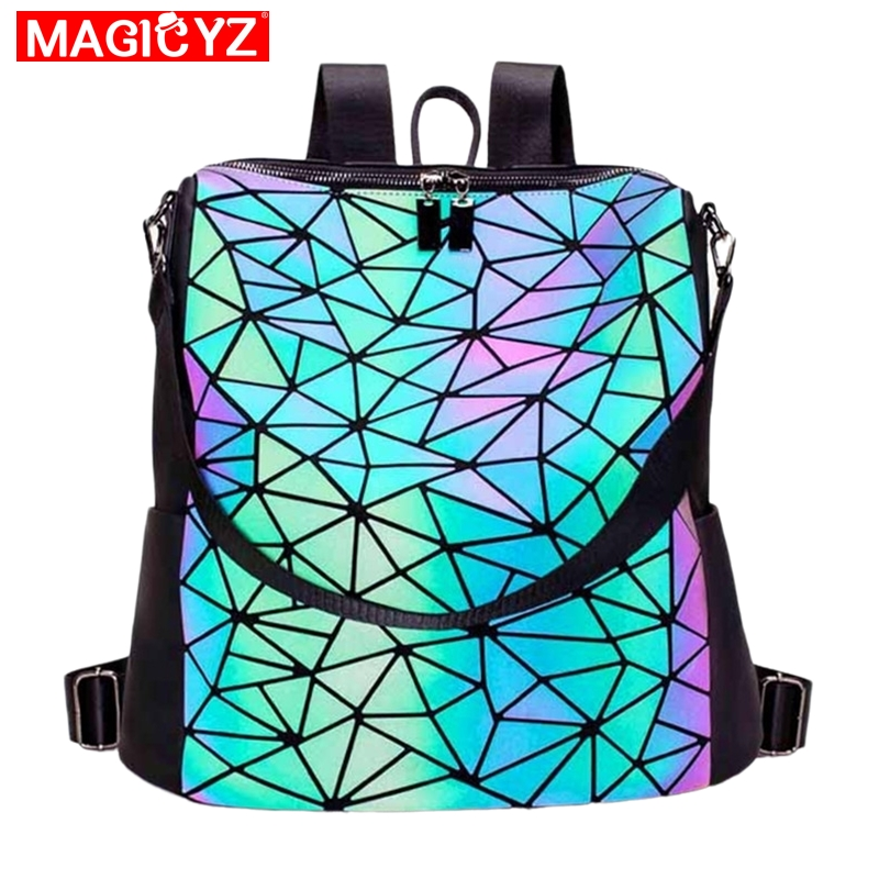 Women Backpack Luminous Geometric Plaid Sequin Female Backpacks For Teenage Girls Bagpack Large Schoolbag Holographic Mochilas