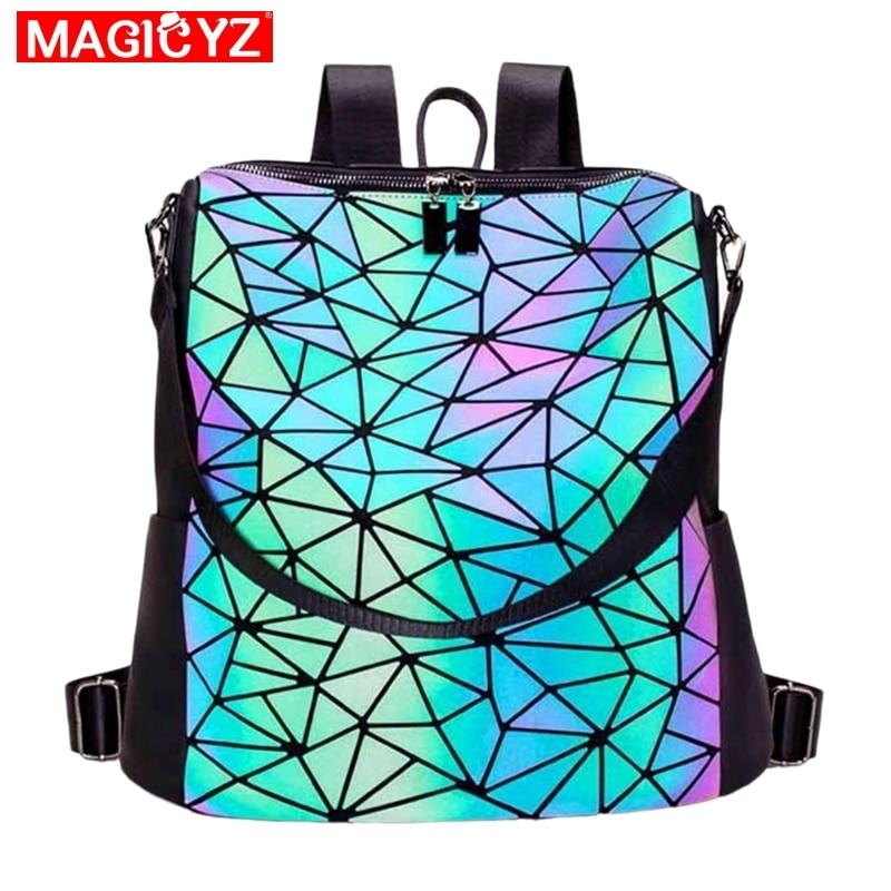 Women Backpack Luminous Geometric Plaid Sequin Female Backpacks For Teenage Girls Bagpack Large Schoolbag Holographic Mochilas