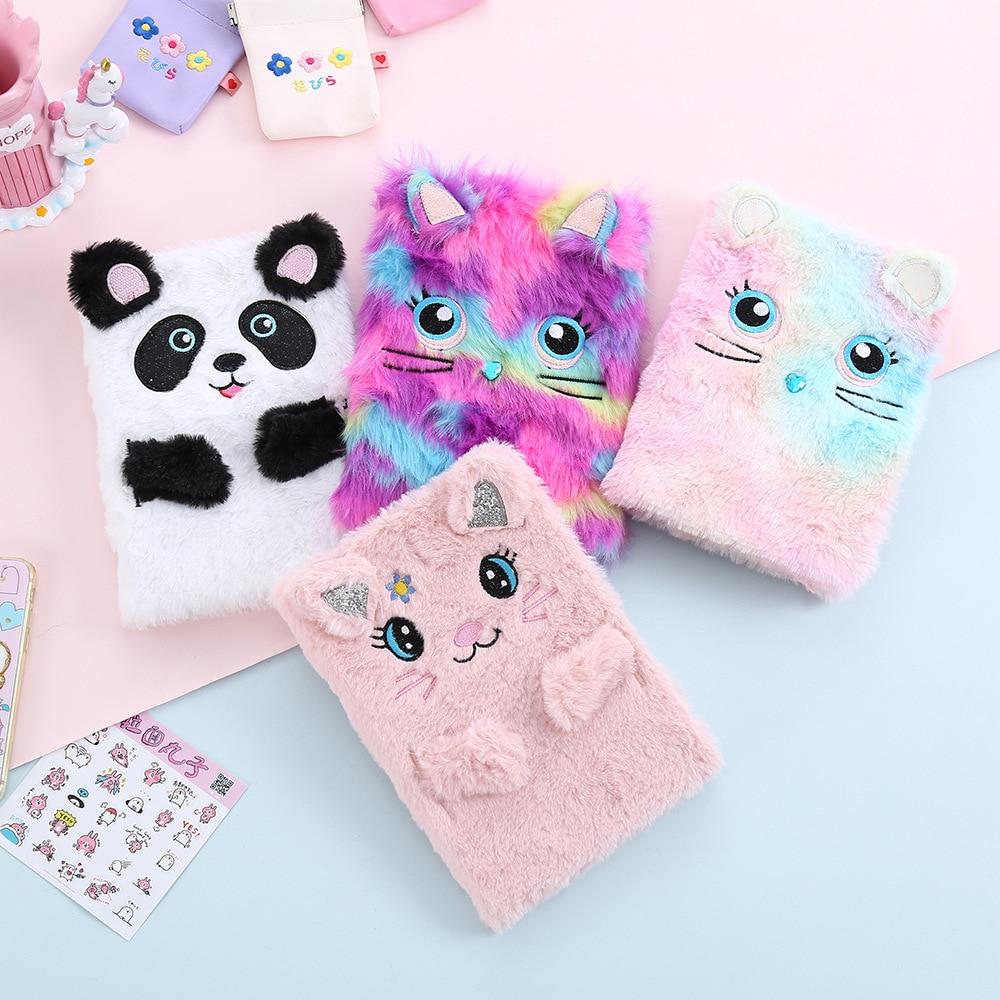 New Cartoon Plush Notebook Cute Rabbit Ears Girl's Hand Book Little Teenage Girls Fur Diary Books Panda Children's Notepad Pink