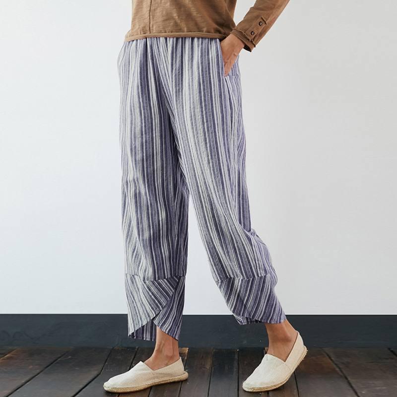 ZANZEA 2020 Casual Striped Pants Women's Summer Trousers Elastic Wasit Long Casual Pantalon Female Cotton Turnip Plus Size