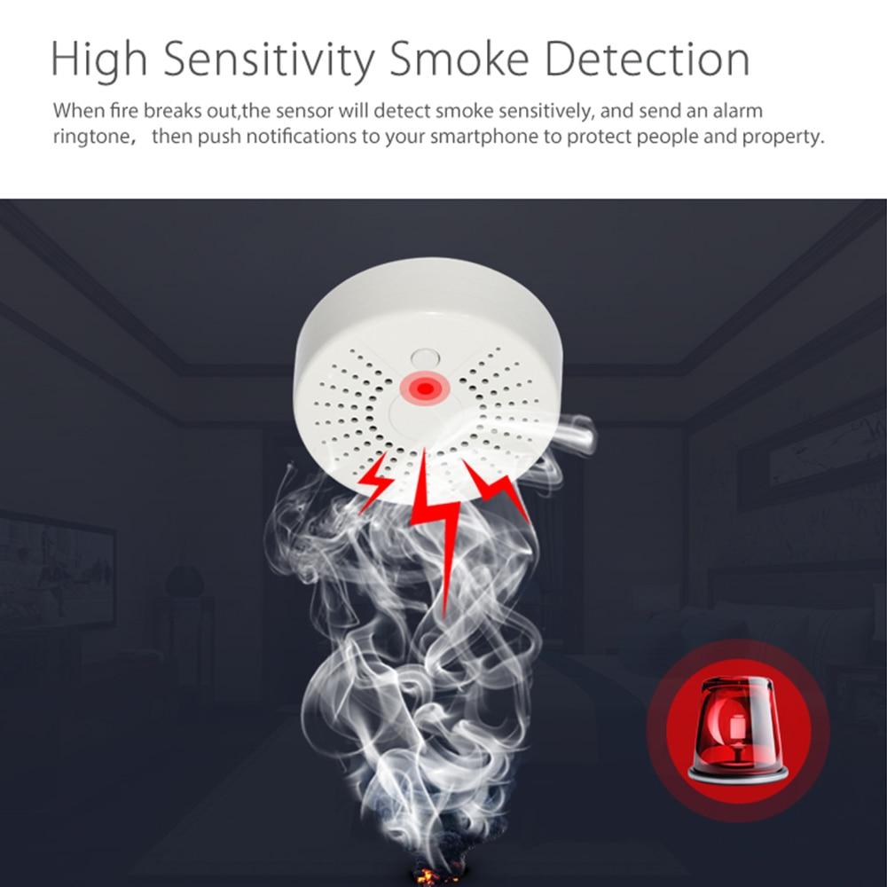 Tuya Smart WiFi Smoke Detector Sensor Standalone Wireless Home Security Fire Alarm With Google Home Alexa APP Remote Control