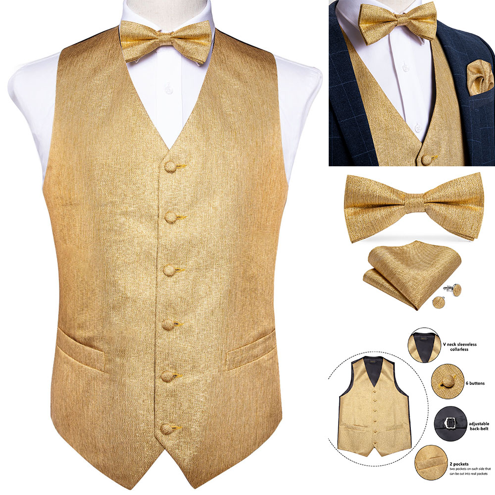 Men's Gold Solid Silk Fashion Wedding Waistcoat Vest For Men Bowtie Hanky Cufflinks Cravat Set For Suit Tuxedo DiBanGu MJ-122