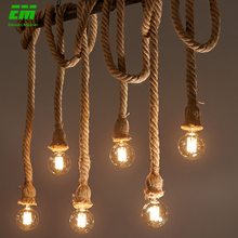 Retro Loft Lamp Pendant-Light Rope Decoration Edison-Bulb Industrial Vintage 1 Hemp ZDD0003