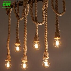 1/2/3/4/5 head vintage hemp rope pendant light retro loft industrial hanging lamp edison bulb lamp home light decoration ZDD0003