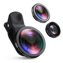 Fisheye Lens Wide Angle Macro Kits Mobile Phone Shooting 3 in 1 Fish Eye Lenses with Clip For iPhone Samsung etc mobile phones(China)