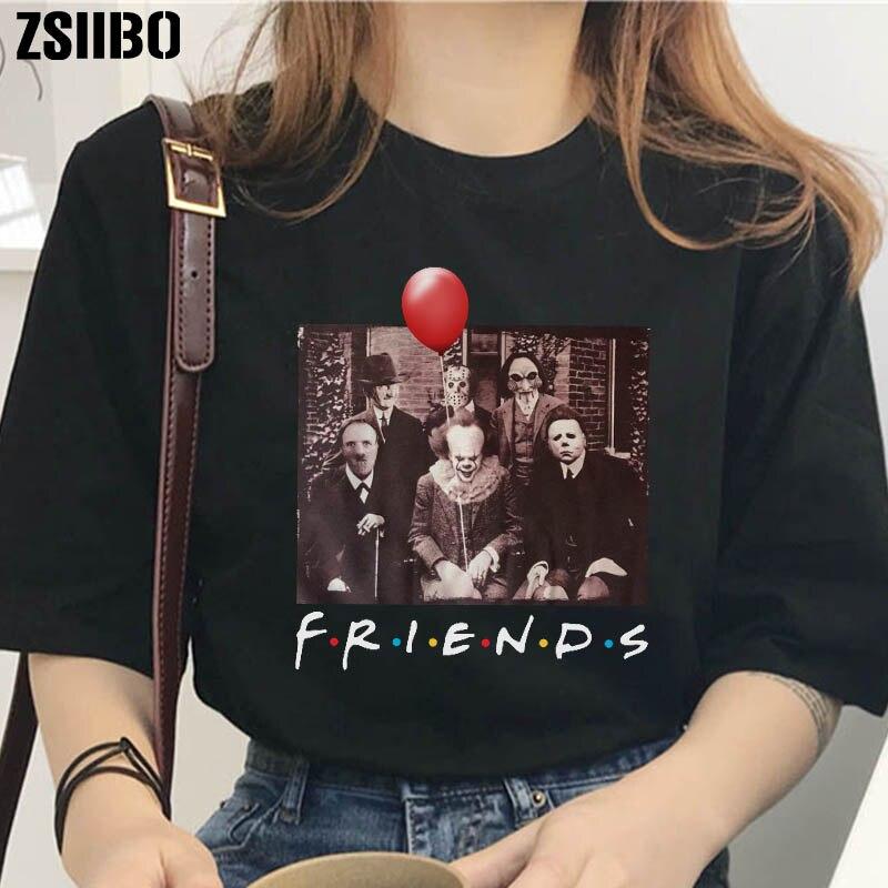Halloween Shirt Friends TV Show Horror Characters Print T-shirt Women Horror Characters Friends Fashion Loose Large Size Shirt