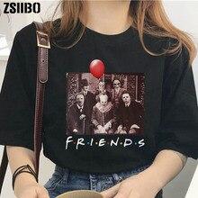 Camisa de Halloween friends TV show horror caracteres impresos camiseta mujeres horror personajes amigos moda suelta camisa de gran tamaño