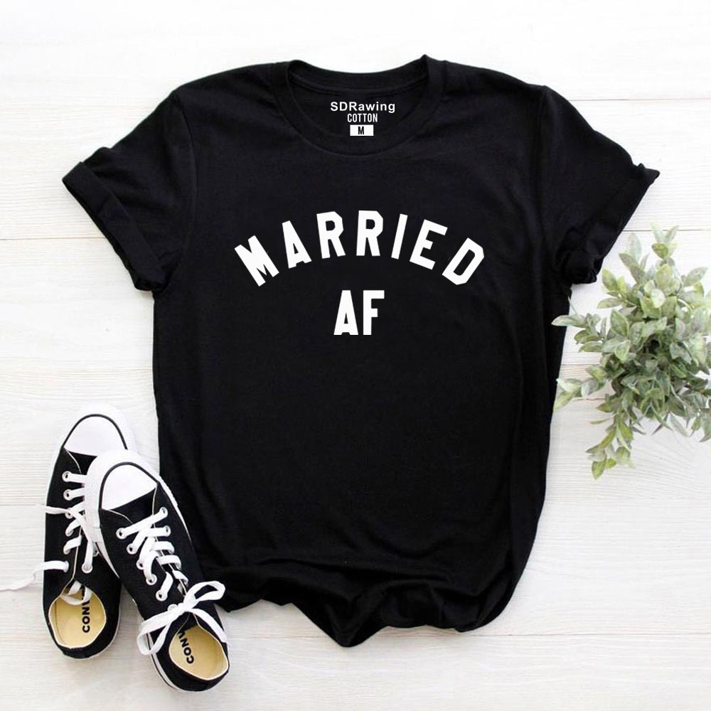 Married AF T-Shirt Just Married Shirt Wifey Hubby Marriage Wedding Hipster Top Honeymoon Gift Lounge Cute Top Tshirt Men Women