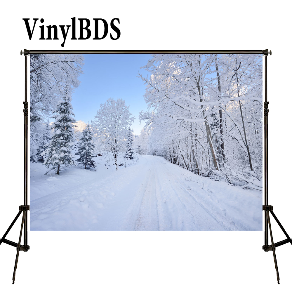 VinylBDS Background 5x7ft Winter Photography Backdrops Snowflakes Background White Scenery Forest Backdrops for Photo Studio|Background| |  - title=