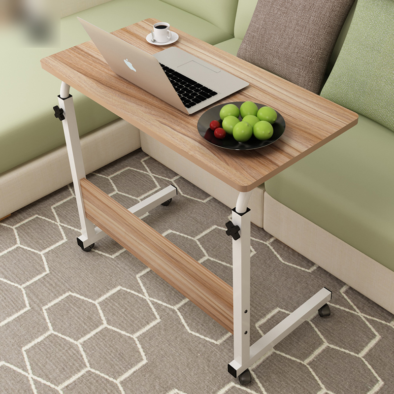 Dormitory Removable Bed Computer Desk Bed Simple Folding Desk Lazy Bedside Table With Wheel Across The Bed Small Table