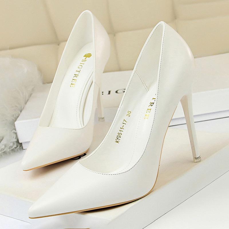 BIGTREE Shoes Women Pumps Fashion High Heels Shoes Black Pink White Shoes Women Wedding Shoes Ladies Stiletto Women Heels 2021