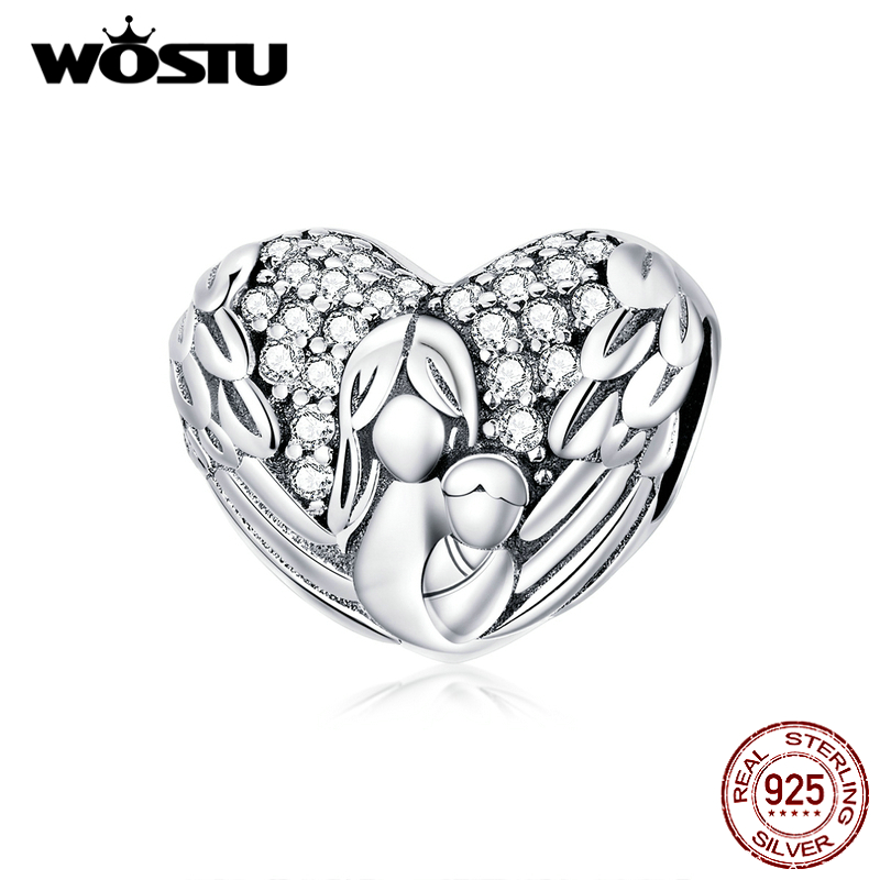 WOSTU Mother Gift 925 Sterling Silver Retro Feather Heart Charm  Family Bead Fit Original Bracelet Pendant DIY Necklace CQC1462
