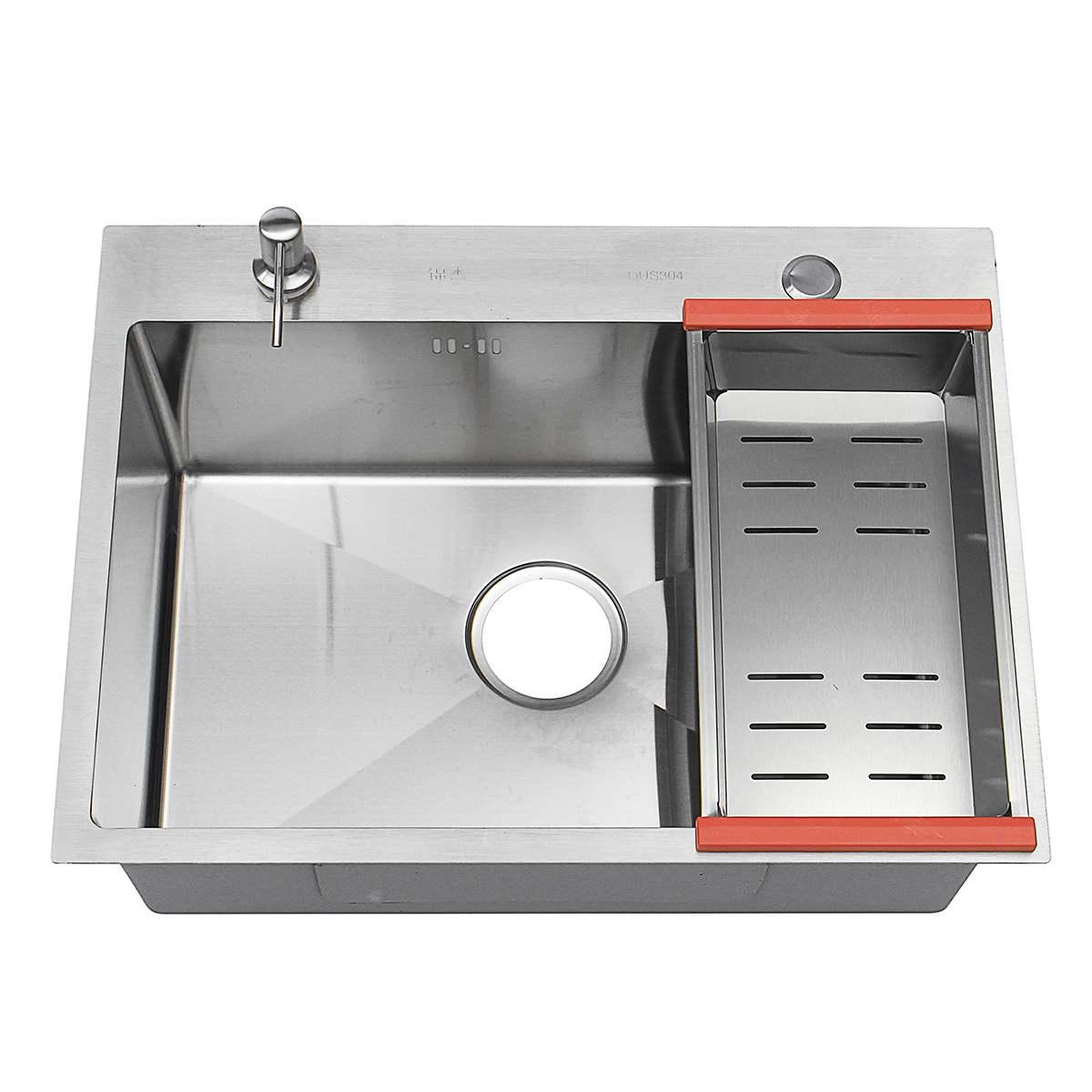 304 évier de cuisine en acier inoxydable simple fente plat bassin évier de cuisine encastré à la main brossé sans couture grand plat lavabo