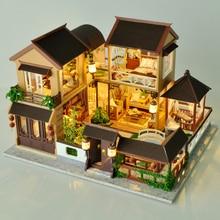 Zabawki dla dzieci Diy domek dla lalek montaż drewniane miniatury lalki meble domowe miniaturowy domek dla lalek Puzzle zabawki edukacyjne dla dzieci