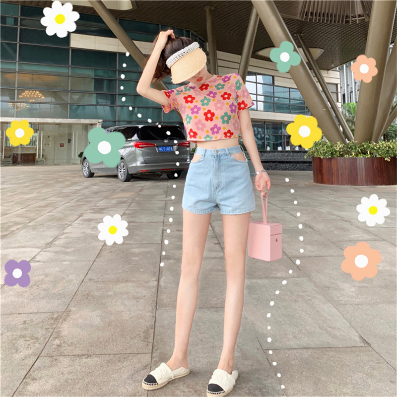 Woman Shorts High Waist Loose Sexy Denim Shorts Trend 2020 Korean Style Solid Hollow Out Waist Streetwear Female Jeans Short