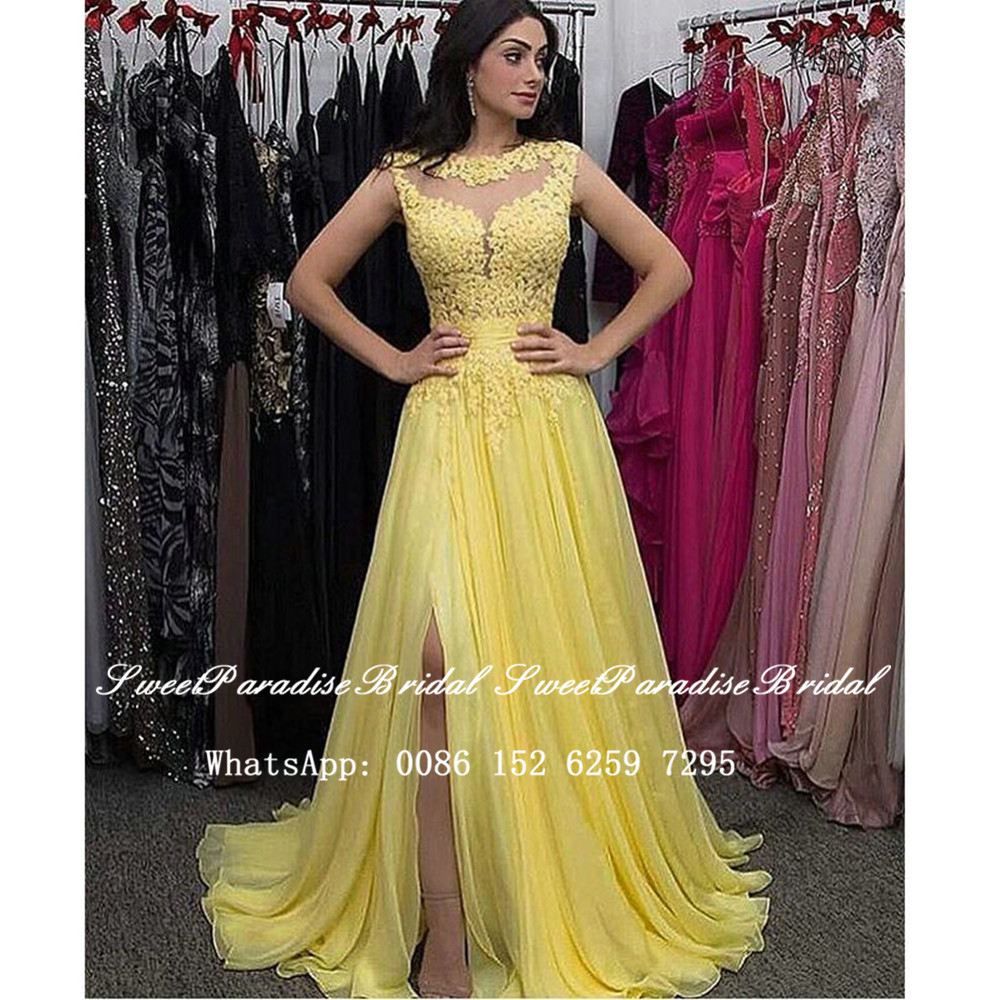 Yellow Lace Bridesmaid Dresses Long 2020 Appliques Sheer Neck Side Split A Line Wedding Dress Formal Maid Of Honor Vestidos