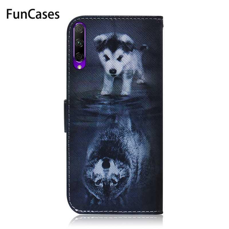 小箱のための Huawei 社の名誉 9X ケースオオカミパンダ磁気フリップ財布カバー Coque のための Huawei 社の名誉 9 × 9 × プロ Huawey 電話ケース Fundas