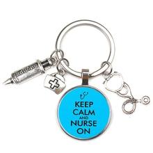 New Fashion Doctor Nurse Glass Stethoscope Alloy Key Ring Medical Bag Men Women Chain Charm Silver Love Souvenir Gifts