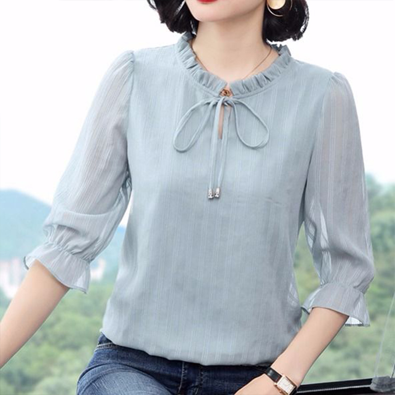 Women Spring Summer Style Chiffon Blouses Shirt Lady Casual Three Quarter Sleeve O-Neck Solid Women's Casual Loose Tops DF3542