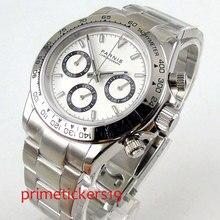 39 мм PARNIS белый циферблат кварцевый механизм Мужские часы из нержавеющей стали ремешок твердый Серебряный чехол PA1076