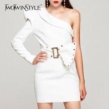 Deuxtwinstyle Patchwork Rivet robes irrégulières pour femme asymétrique col manches bouffantes une épaule robe femmes mode 2020