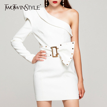 TWOTWINSTYLE Patchwork Rivet Irregular Dresses For Female Asymmetrical Collar Puff Sleeve One Shoulder Dress Women Fashion 2020