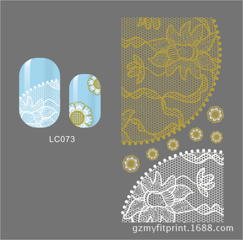 LC73-78 White + Gold New Style South Korea 3D Lace Manicure Stickers Paper Lace Nail Sticker Bride Manicure Modeling