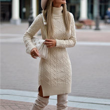 Turtleneck knitted Sweater Dress Women Winter Pullover Fashion Warmness Casual Long Sleeve Jumper Sweaters Bodycon Short Dresses(China)