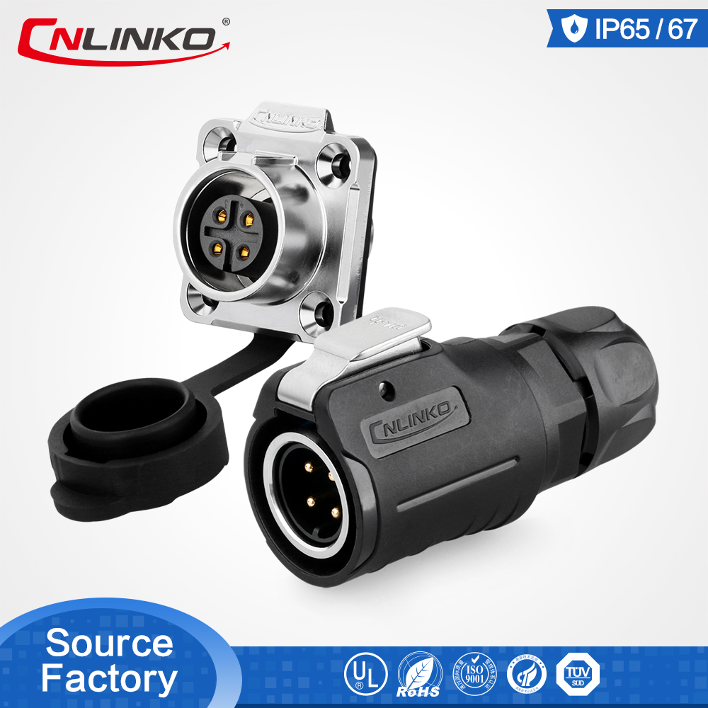 Cnlinko 4pin Power Connector Male and Female M16 Cable Connector Outdoor Waterproof Adapter Circular Industrial Connector Solder title=